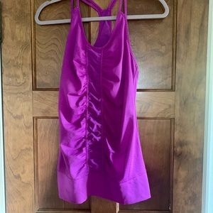 purple with mesh workout tank top